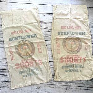 Vintage 1940's sunflower feed sacks linen cotton